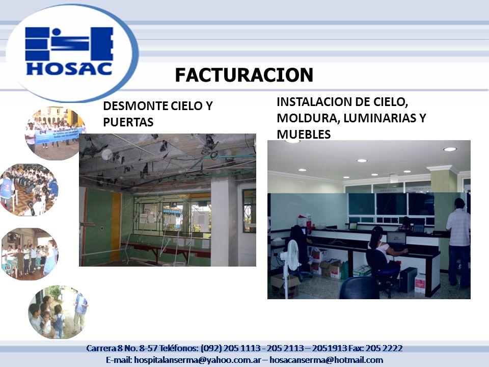 FACTURACION INSTALACION DE CIELO, MOLDURA, LUMINARIAS Y MUEBLES