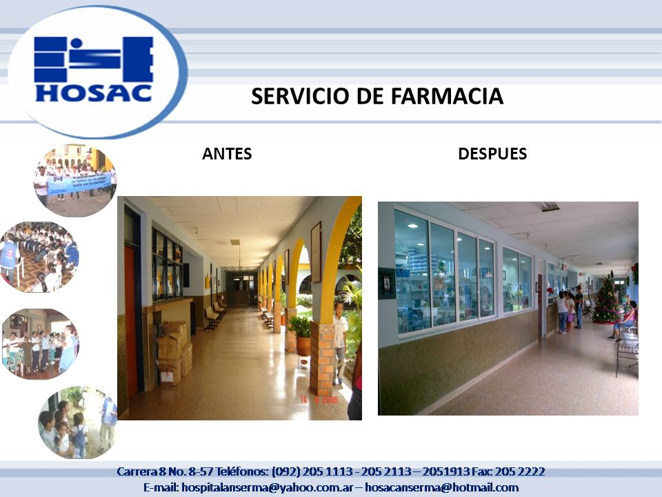 SERVICIO DE FARMACIA ANTES DESPUES