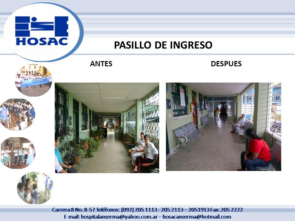 PASILLO DE INGRESO ANTES DESPUES