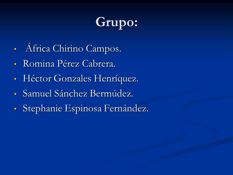 Grupo: África Chirino Campos. Romina Pérez Cabrera.