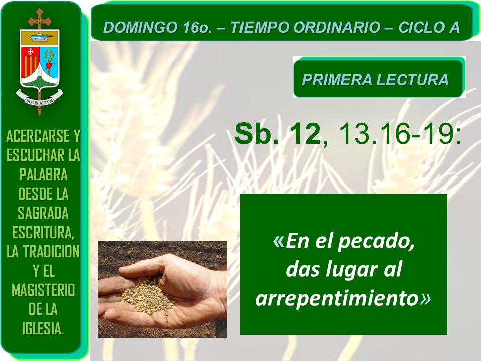 Sb. 12, 13.16-19: «En el pecado, das lugar al arrepentimiento»