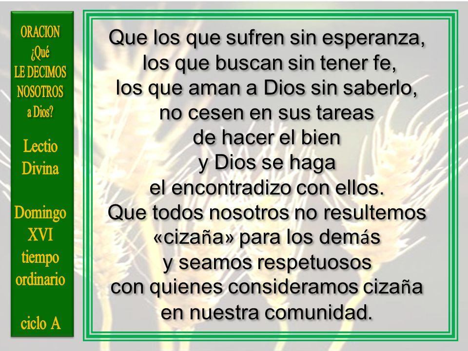 Que los que sufren sin esperanza, los que buscan sin tener fe,