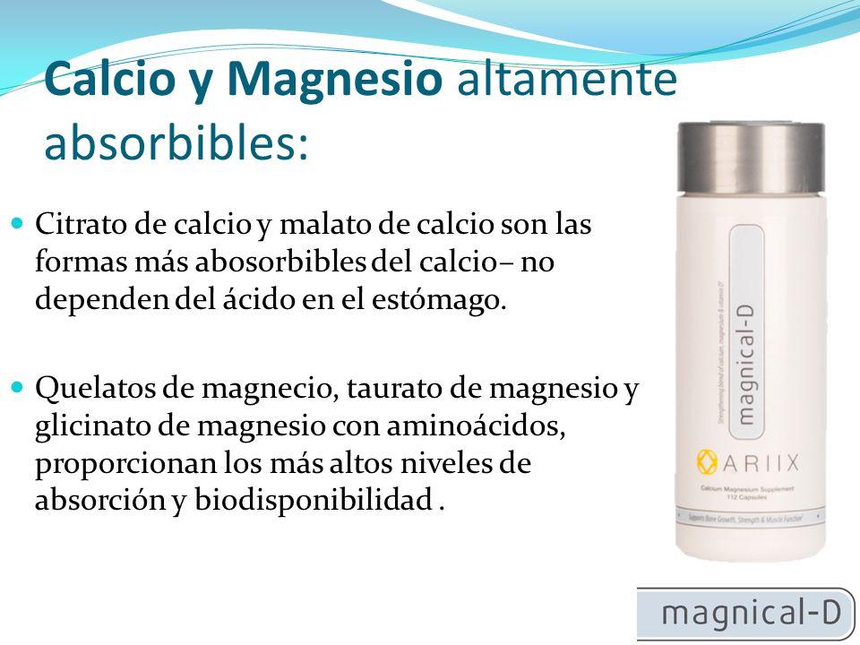 Calcio y Magnesio altamente absorbibles: