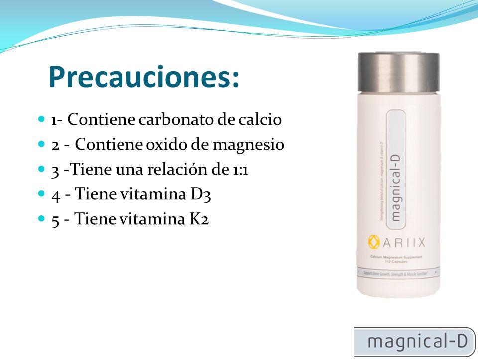 Precauciones: 1- Contiene carbonato de calcio
