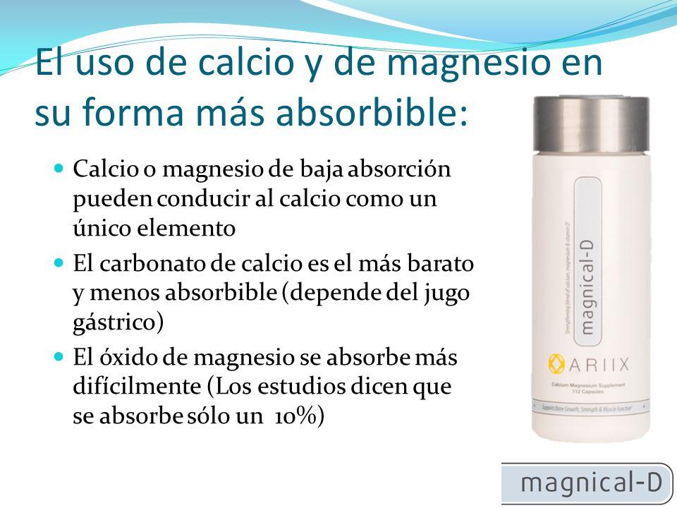 El uso de calcio y de magnesio en su forma más absorbible: