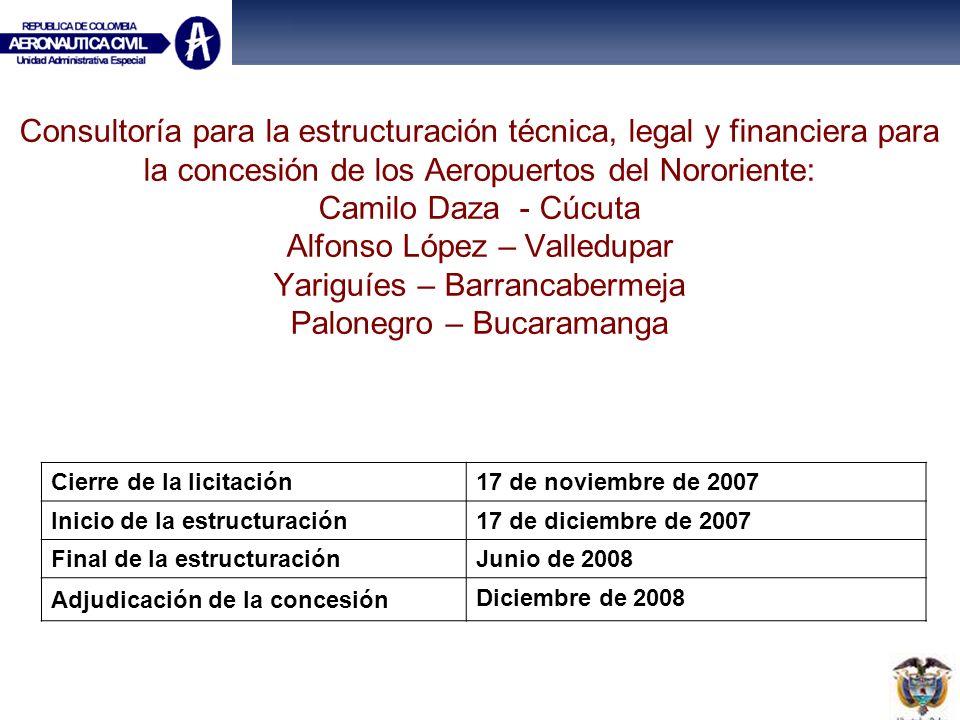 Consultoría para la estructuración técnica, legal y financiera para la concesión de los Aeropuertos del Nororiente: Camilo Daza - Cúcuta Alfonso López – Valledupar Yariguíes – Barrancabermeja Palonegro – Bucaramanga
