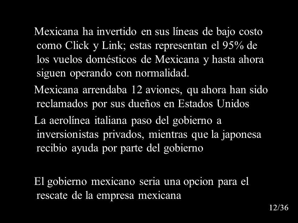 Mexicana ha invertido en sus líneas de bajo costo como Click y Link; estas representan el 95% de los vuelos domésticos de Mexicana y hasta ahora siguen operando con normalidad.