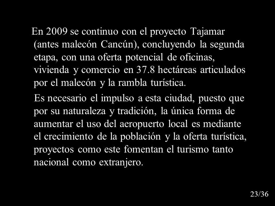 En 2009 se continuo con el proyecto Tajamar (antes malecón Cancún), concluyendo la segunda etapa, con una oferta potencial de oficinas, vivienda y comercio en 37.8 hectáreas articulados por el malecón y la rambla turística.