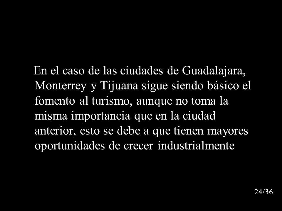 En el caso de las ciudades de Guadalajara, Monterrey y Tijuana sigue siendo básico el fomento al turismo, aunque no toma la misma importancia que en la ciudad anterior, esto se debe a que tienen mayores oportunidades de crecer industrialmente