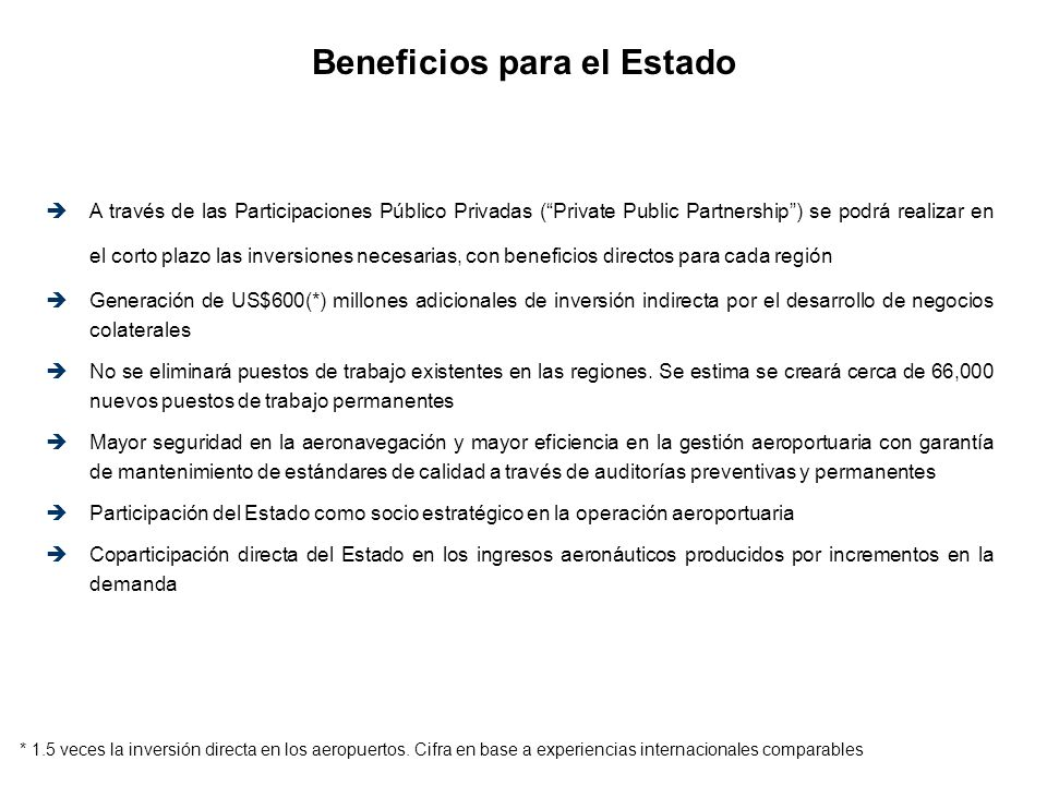 Beneficios para el Estado