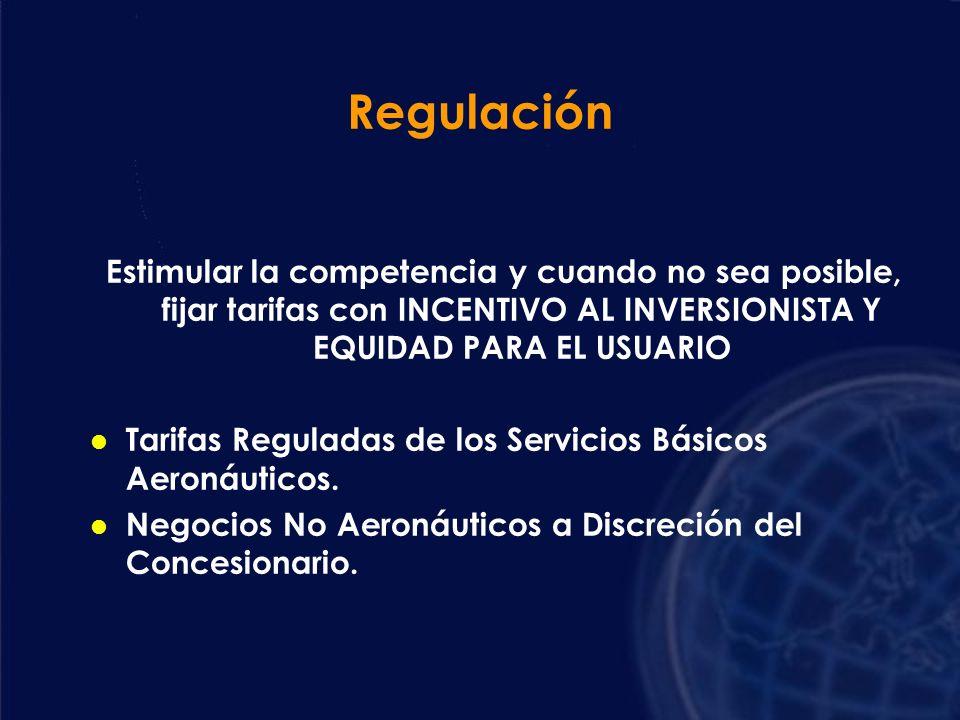 Regulación Estimular la competencia y cuando no sea posible, fijar tarifas con INCENTIVO AL INVERSIONISTA Y EQUIDAD PARA EL USUARIO.