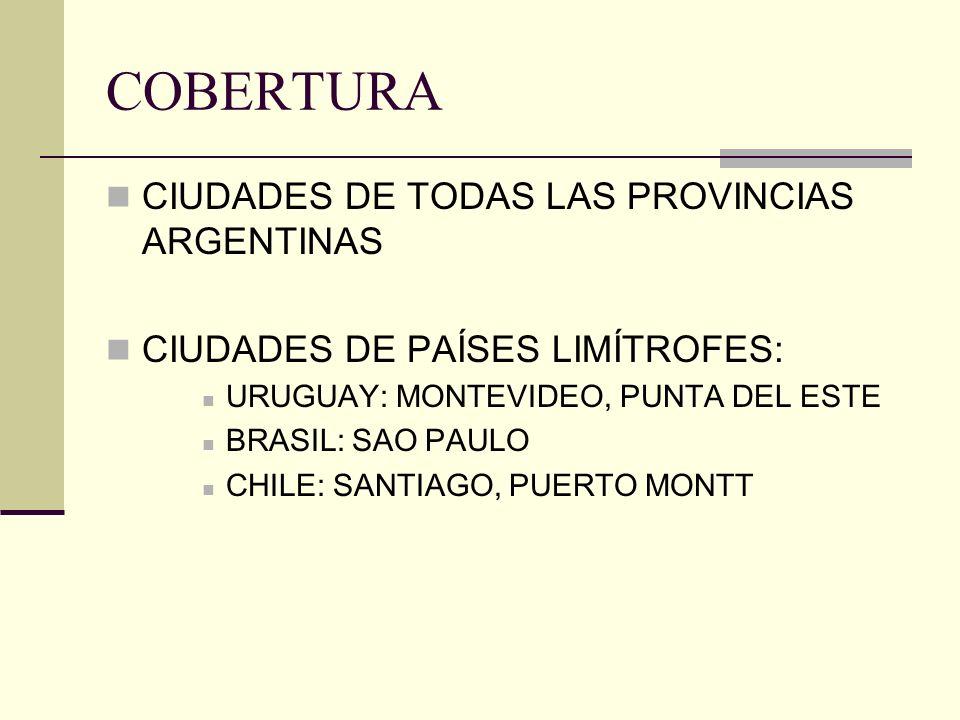 COBERTURA CIUDADES DE TODAS LAS PROVINCIAS ARGENTINAS