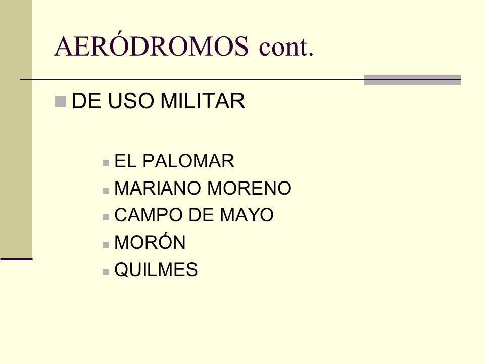 AERÓDROMOS cont. DE USO MILITAR EL PALOMAR MARIANO MORENO