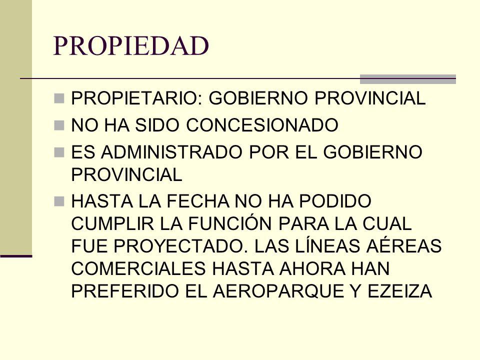 PROPIEDAD PROPIETARIO: GOBIERNO PROVINCIAL NO HA SIDO CONCESIONADO