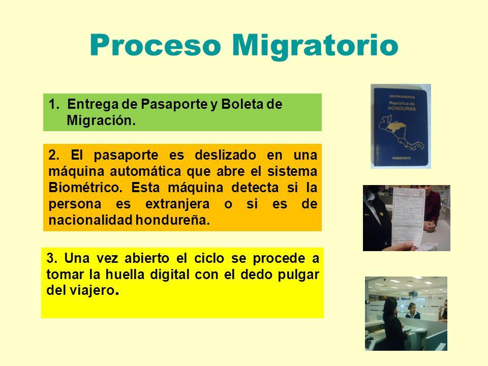 Proceso Migratorio 1. Entrega de Pasaporte y Boleta de Migración.
