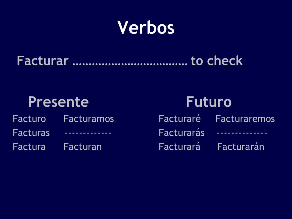 Verbos Presente Futuro Facturar ……………………………… to check