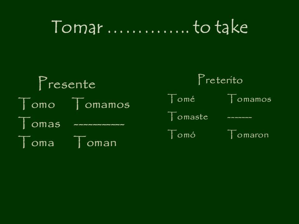 Tomar ………….. to take Presente Tomo Tomamos Tomas -----------