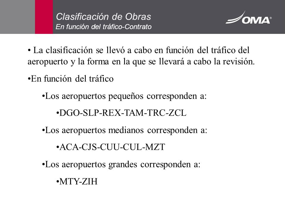 Clasificación de Obras En función del tráfico-Contrato