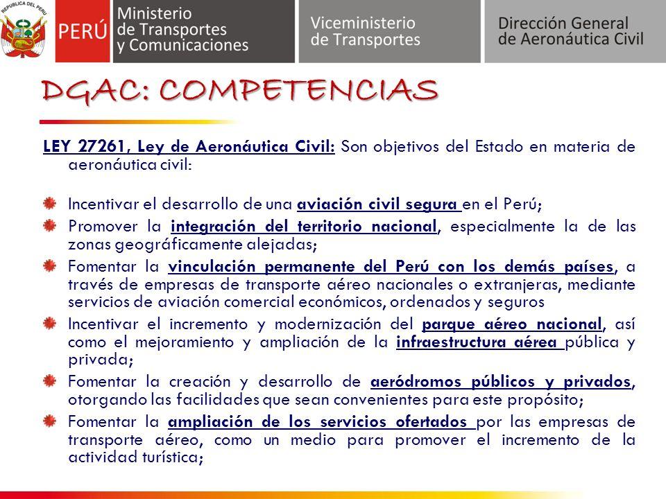 DGAC: COMPETENCIAS LEY 27261, Ley de Aeronáutica Civil: Son objetivos del Estado en materia de aeronáutica civil: