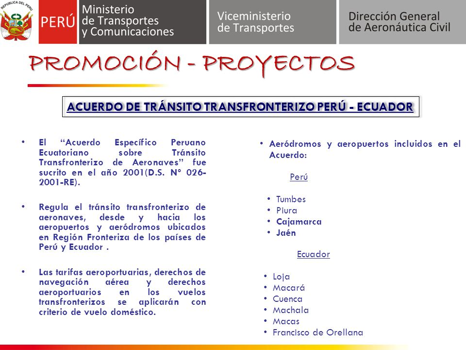 ACUERDO DE TRÁNSITO TRANSFRONTERIZO PERÚ - ECUADOR