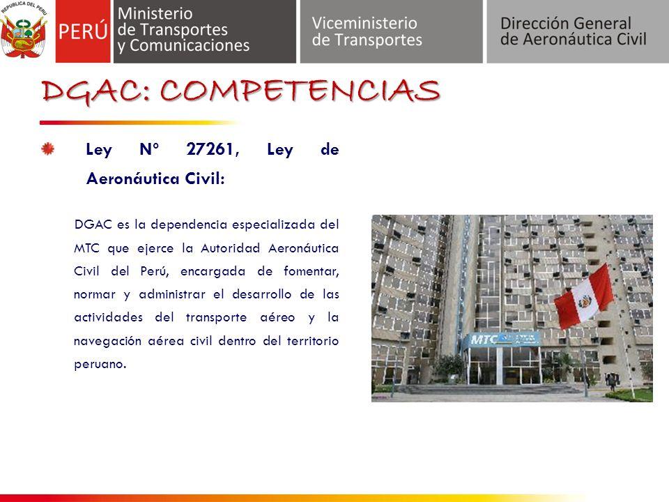 DGAC: COMPETENCIAS Ley Nº 27261, Ley de Aeronáutica Civil: