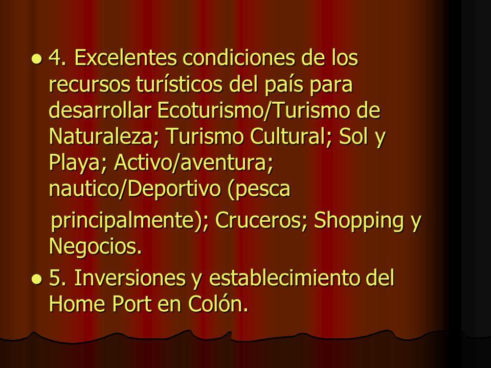 4. Excelentes condiciones de los recursos turísticos del país para desarrollar Ecoturismo/Turismo de Naturaleza; Turismo Cultural; Sol y Playa; Activo/aventura; nautico/Deportivo (pesca