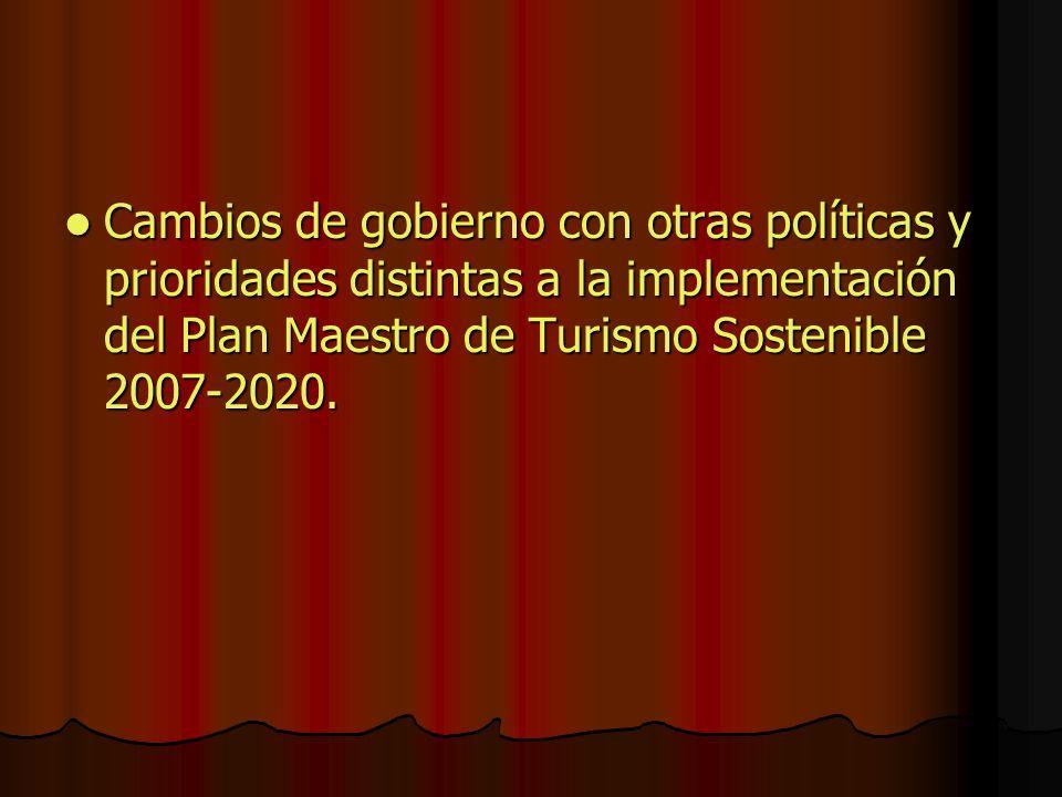 Cambios de gobierno con otras políticas y prioridades distintas a la implementación del Plan Maestro de Turismo Sostenible 2007-2020.