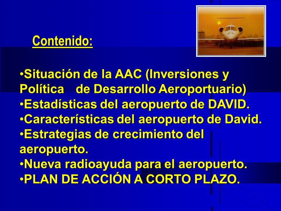 Contenido: Situación de la AAC (Inversiones y Política de Desarrollo Aeroportuario) Estadísticas del aeropuerto de DAVID.