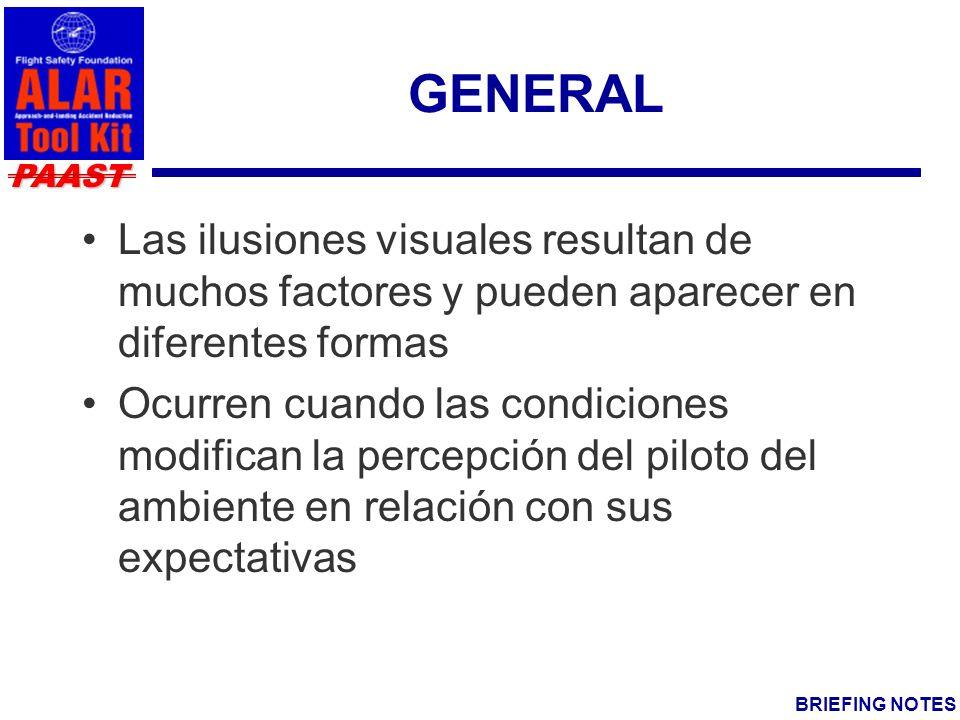 GENERAL Las ilusiones visuales resultan de muchos factores y pueden aparecer en diferentes formas.