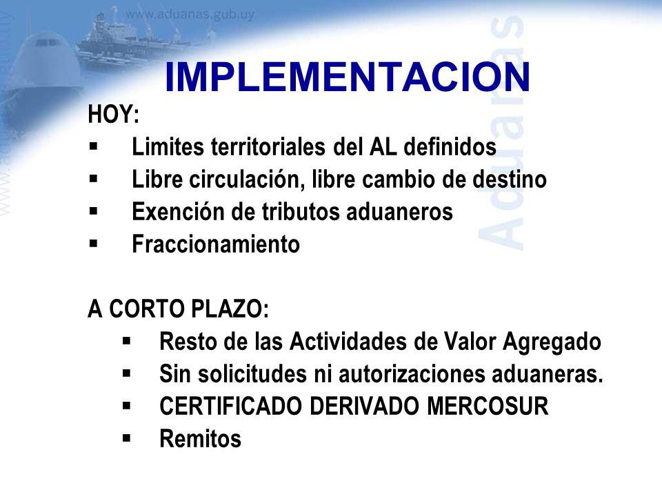IMPLEMENTACION HOY: Limites territoriales del AL definidos