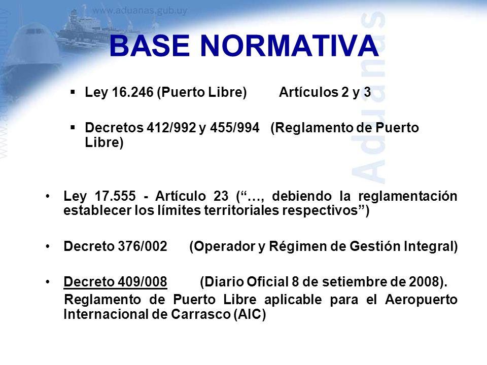 BASE NORMATIVA Ley 16.246 (Puerto Libre) Artículos 2 y 3