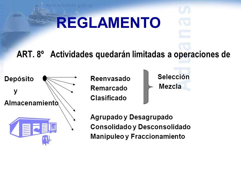 REGLAMENTO ART. 8º Actividades quedarán limitadas a operaciones de