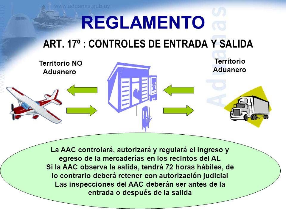 ART. 17º : CONTROLES DE ENTRADA Y SALIDA Territorio NO Aduanero