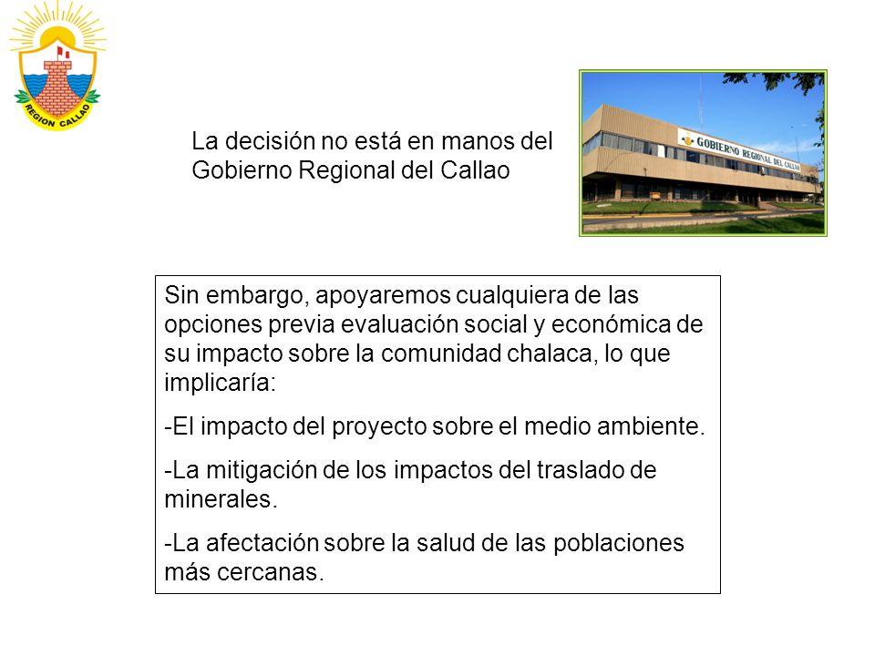 La decisión no está en manos del Gobierno Regional del Callao