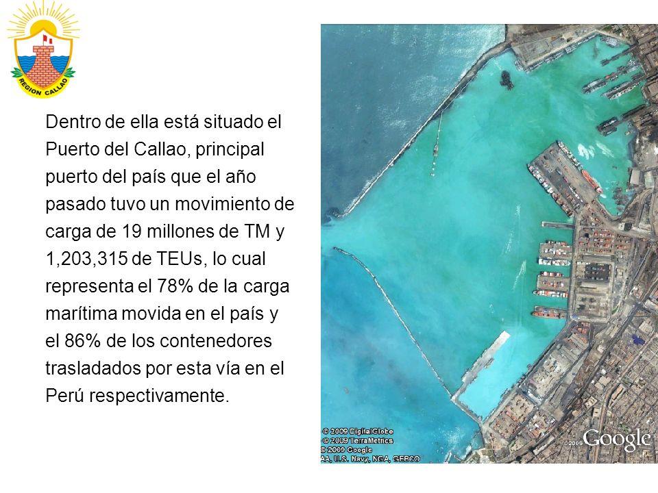 Dentro de ella está situado el Puerto del Callao, principal puerto del país que el año pasado tuvo un movimiento de carga de 19 millones de TM y 1,203,315 de TEUs, lo cual representa el 78% de la carga marítima movida en el país y el 86% de los contenedores trasladados por esta vía en el Perú respectivamente.