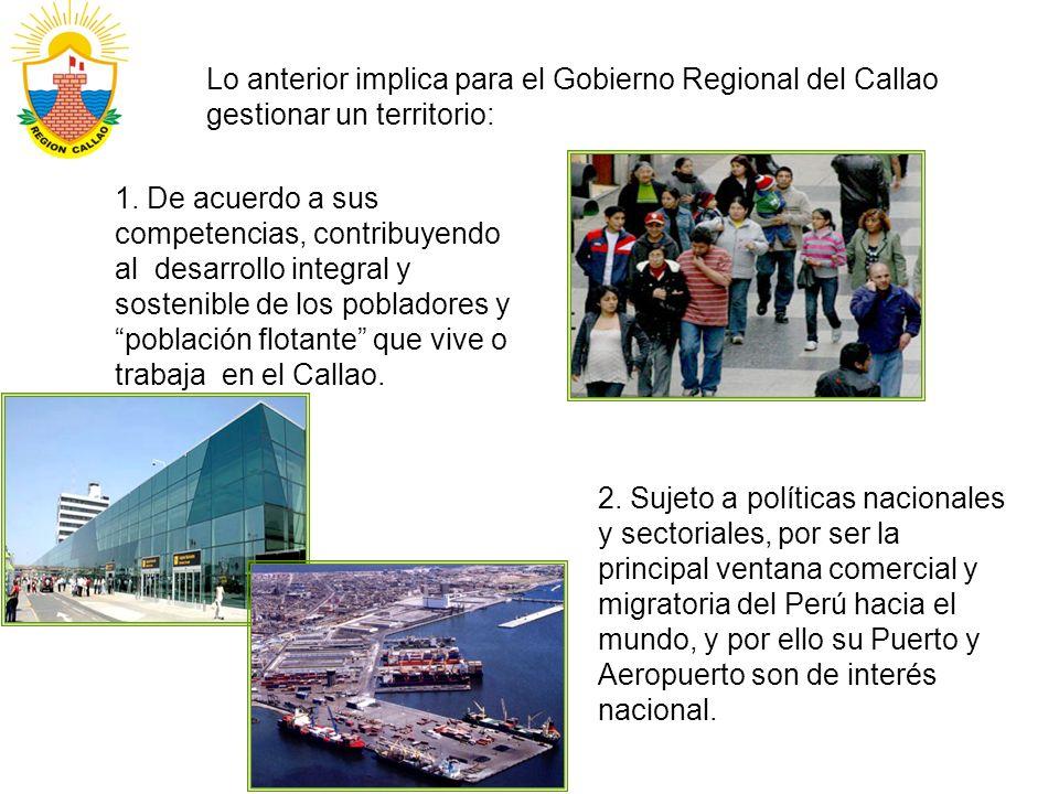 Lo anterior implica para el Gobierno Regional del Callao gestionar un territorio: