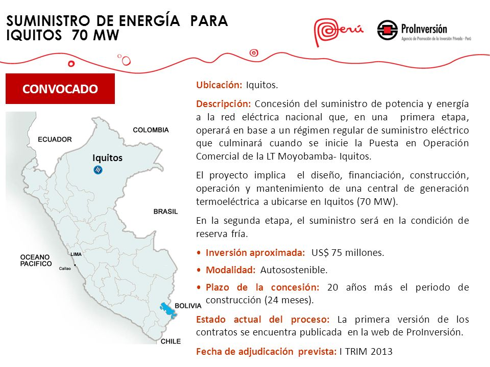 SUMINISTRO DE ENERGÍA PARA IQUITOS 70 MW