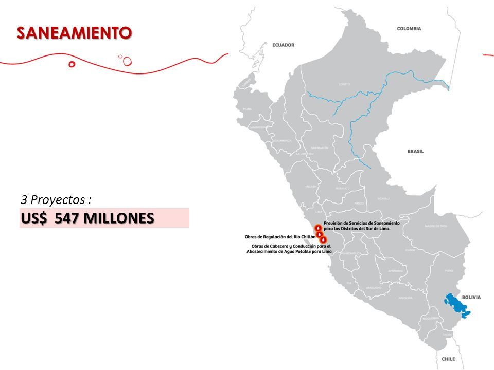 SANEAMIENTO 3 Proyectos : US$ 547 MILLONES