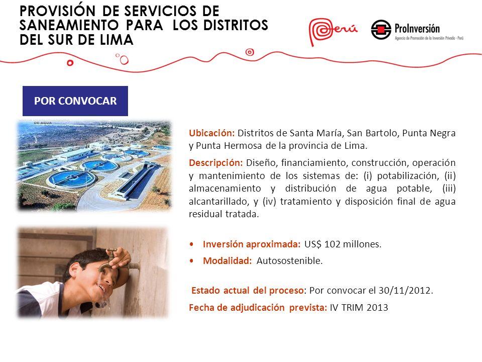 PROVISIÓN DE SERVICIOS DE SANEAMIENTO PARA LOS DISTRITOS DEL SUR DE LIMA