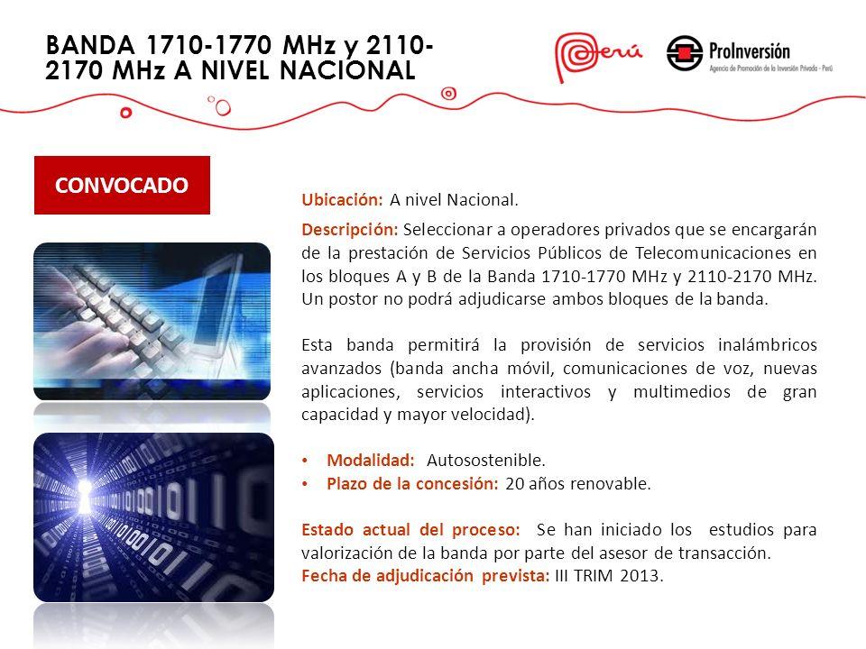 BANDA 1710-1770 MHz y 2110-2170 MHz A NIVEL NACIONAL