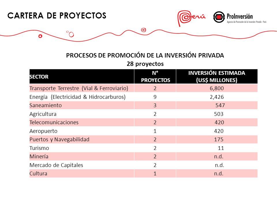 CARTERA DE PROYECTOS PROCESOS DE PROMOCIÓN DE LA INVERSIÓN PRIVADA
