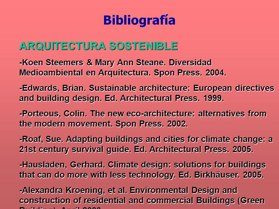 Bibliografía ARQUITECTURA SOSTENIBLE