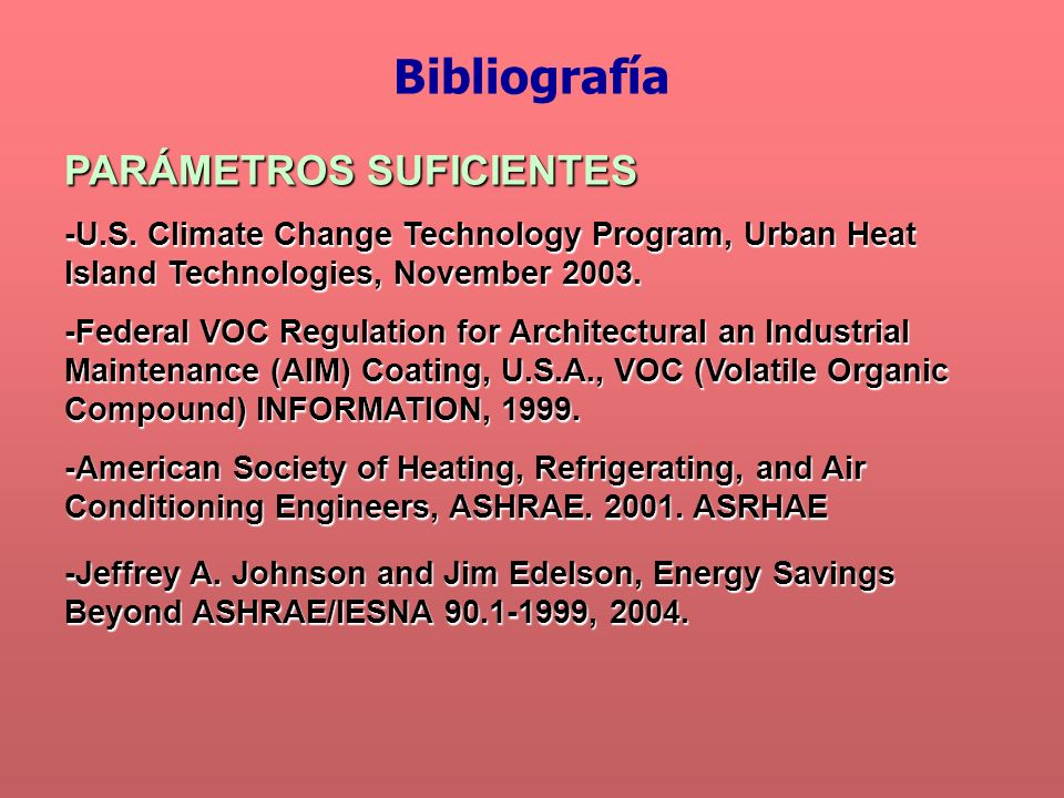 Bibliografía PARÁMETROS SUFICIENTES