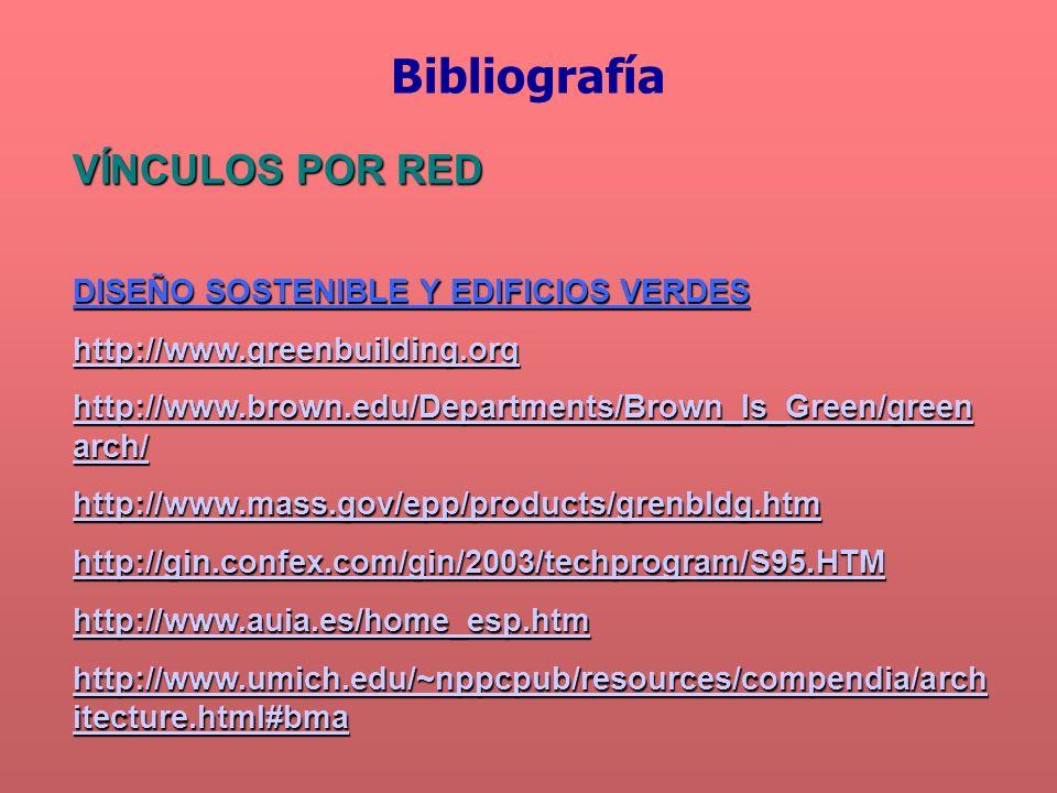 Bibliografía VÍNCULOS POR RED DISEÑO SOSTENIBLE Y EDIFICIOS VERDES