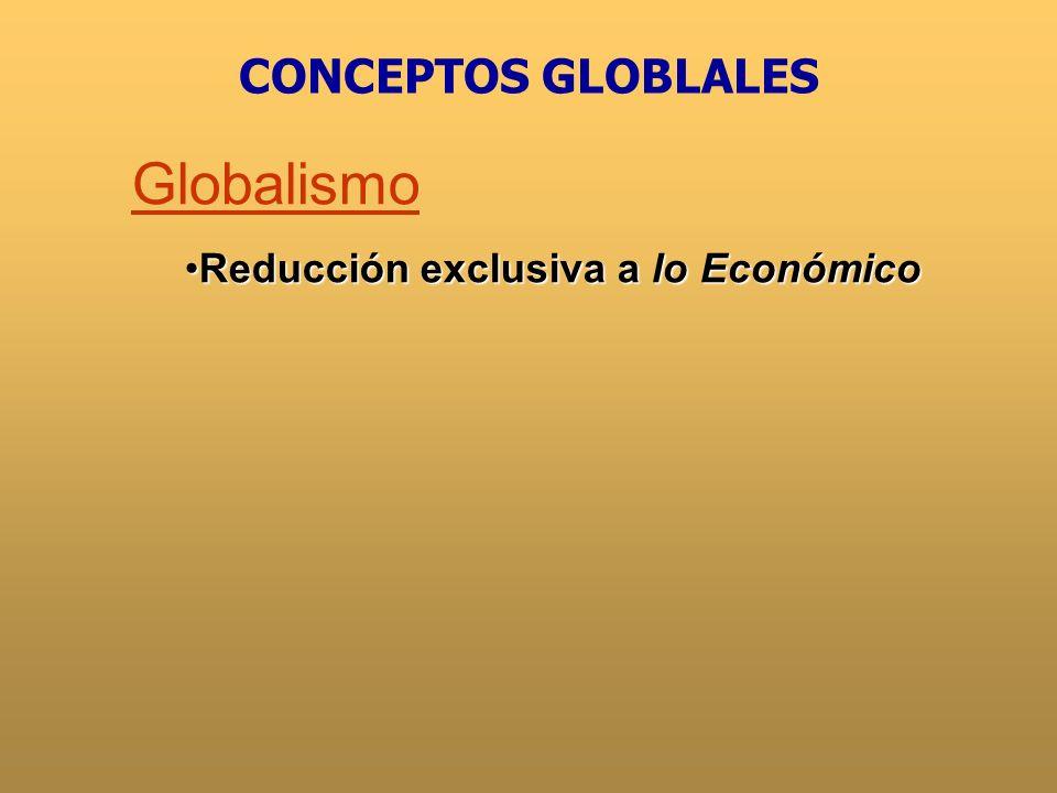 CONCEPTOS GLOBLALES Globalismo Reducción exclusiva a lo Económico
