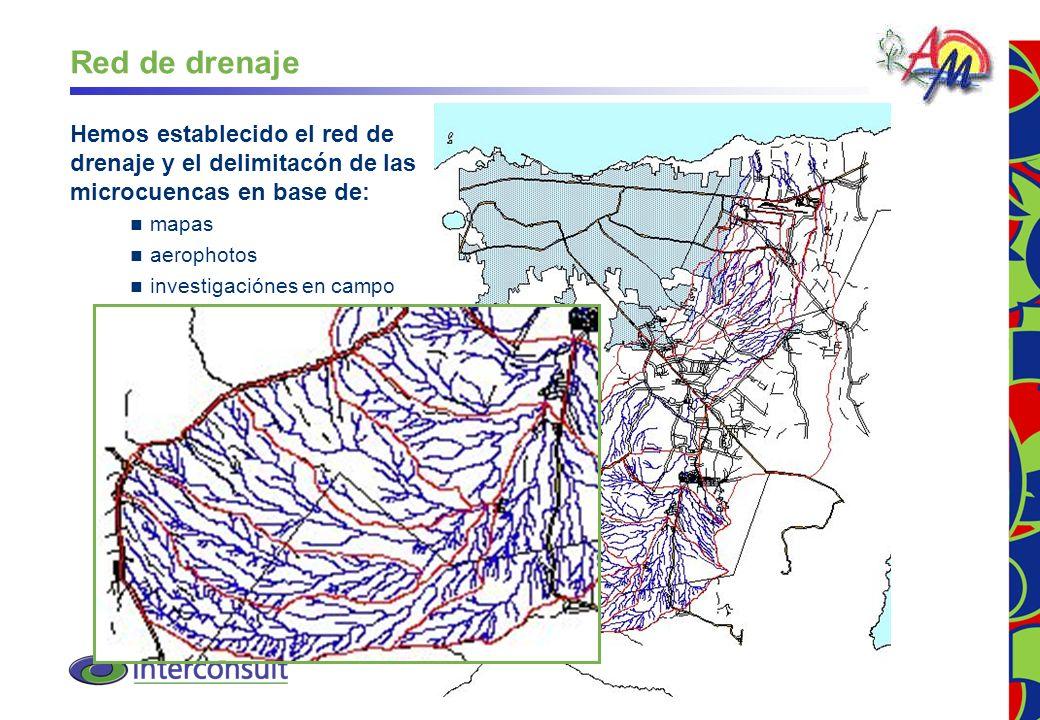 Red de drenaje Hemos establecido el red de drenaje y el delimitacón de las microcuencas en base de: