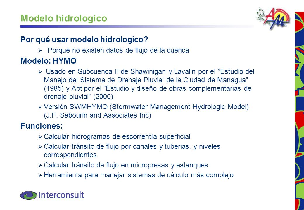 Modelo hidrologico Por qué usar modelo hidrologico Modelo: HYMO
