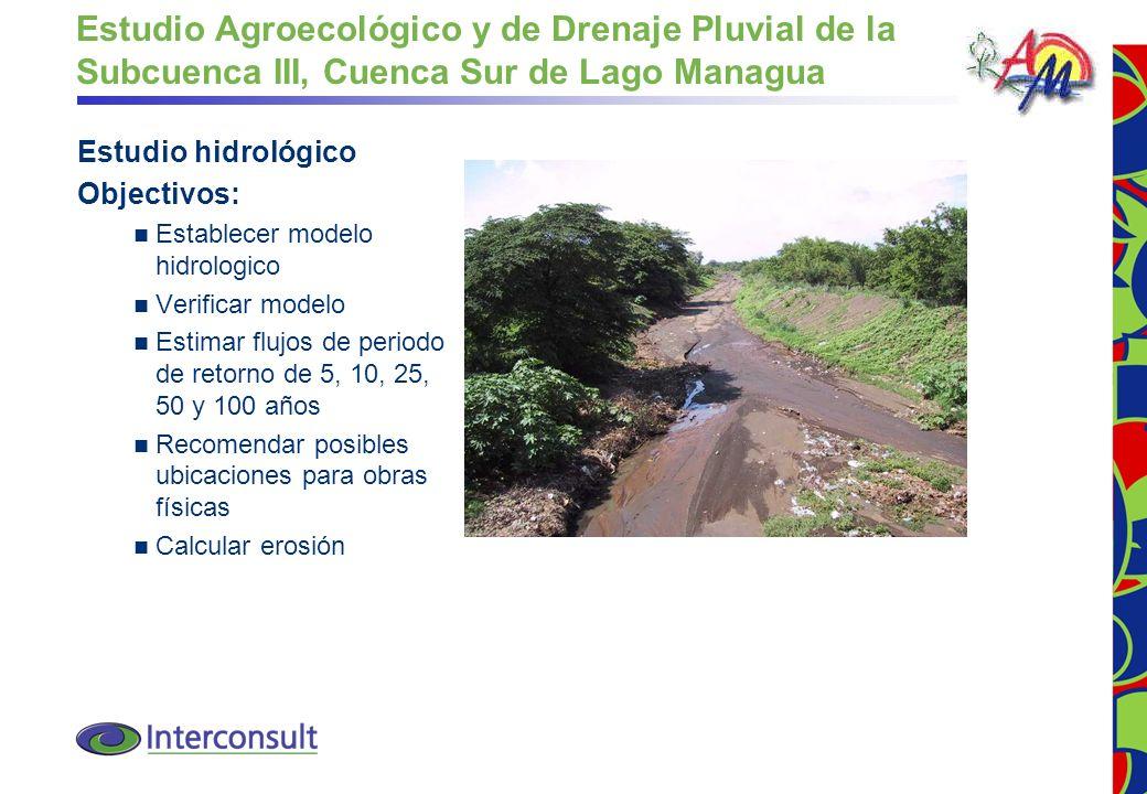 Estudio Agroecológico y de Drenaje Pluvial de la Subcuenca III, Cuenca Sur de Lago Managua