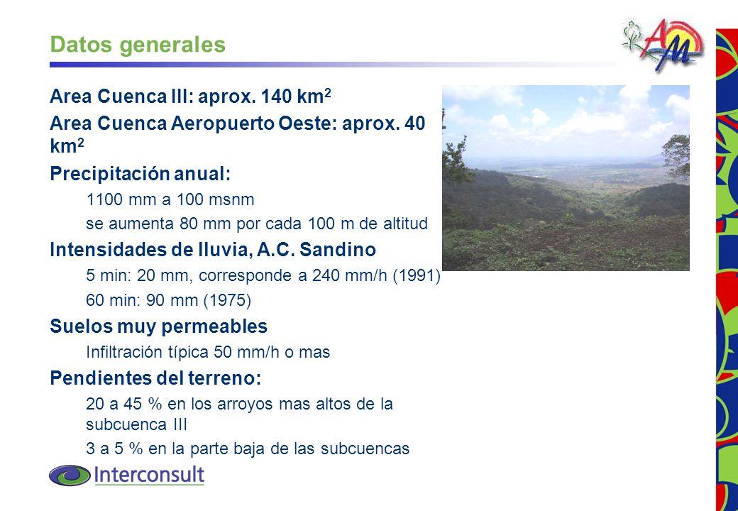 Datos generales Area Cuenca III: aprox. 140 km2