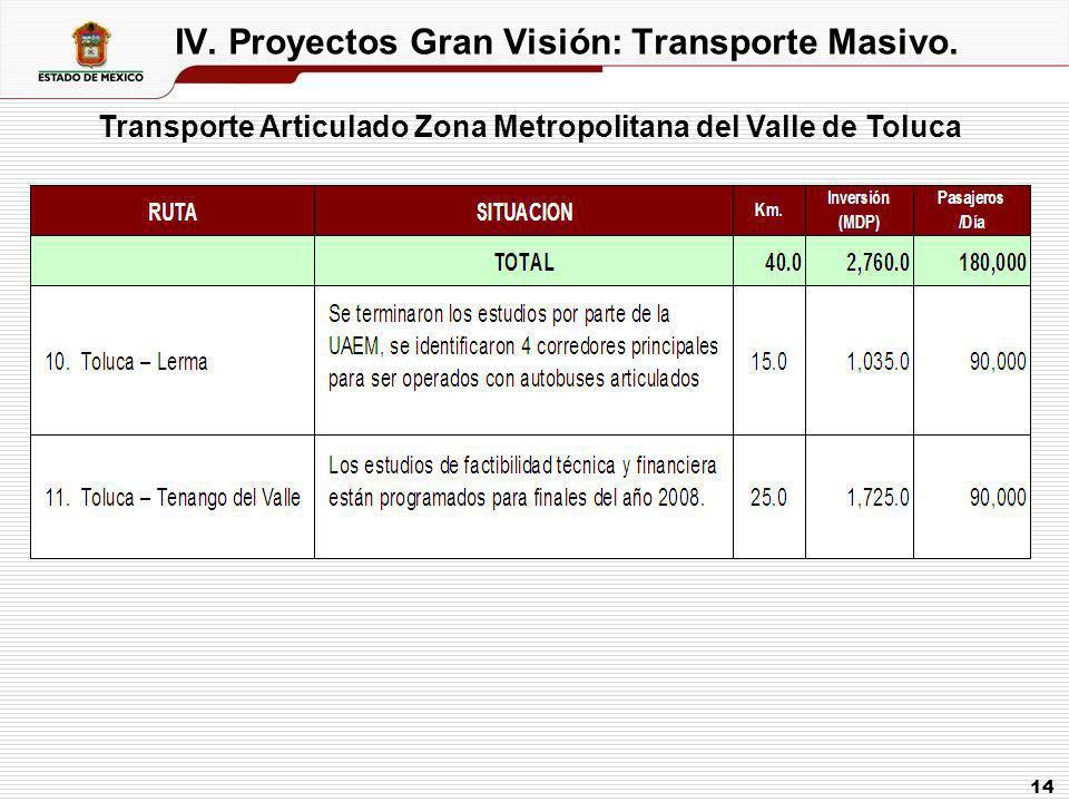 IV. Proyectos Gran Visión: Transporte Masivo.